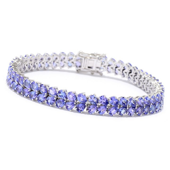 New Items Added Daily at Lowest Prices Ever at ShopHQ   183-888 - 14K White Gold Choice of Length Tanzanite 2-Row Tennis Bracelet