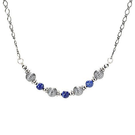 "Sunwest_Silver 18""_Choice_of Gemstone Bead_Station Necklace"