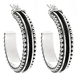 "Sunwest Silver 1.25"" Multi Texture Hoop Earrings, 15.6 grams"