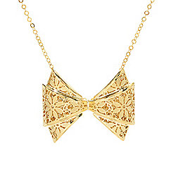 Necklaces - 183-934 Stefano Oro 14K Gold 16 Fiori Ricami Bow Necklace w 2 Extender, 2.8 grams - 183-934
