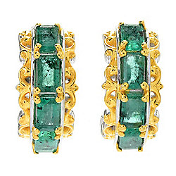Gems en Vogue 2.40ctw Step Cut Zambian Emerald Huggie Hoop Earrings