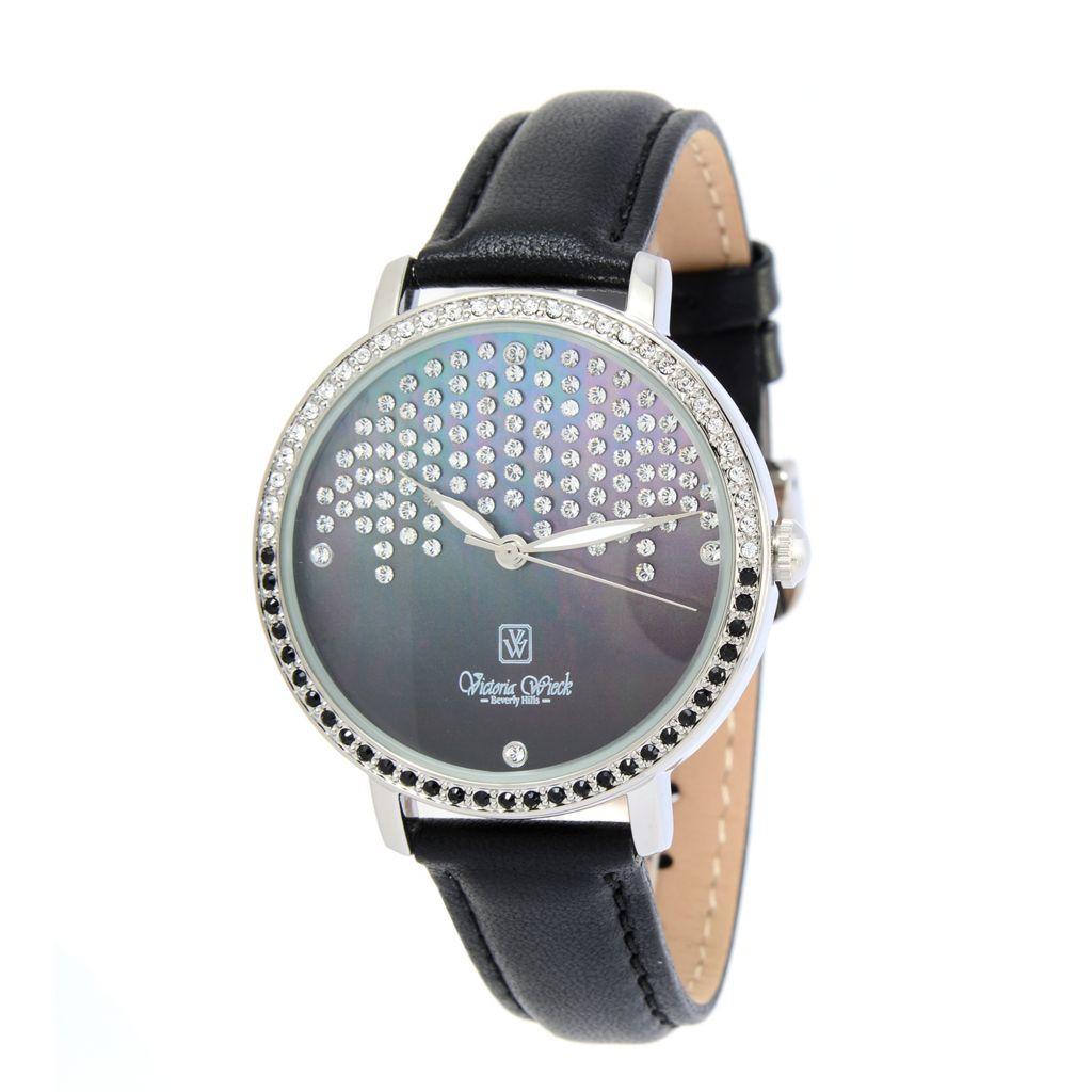 Victoria Wieck Women's Quartz Leather Strap Watch Made w Swarovski Crystals - 183-981