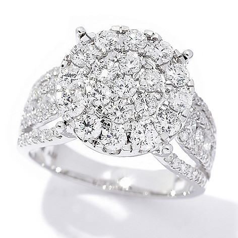 Diamond_Treasures® 14K_Gold 1.70ctw Diamond_Cluster Cocktail_Ring