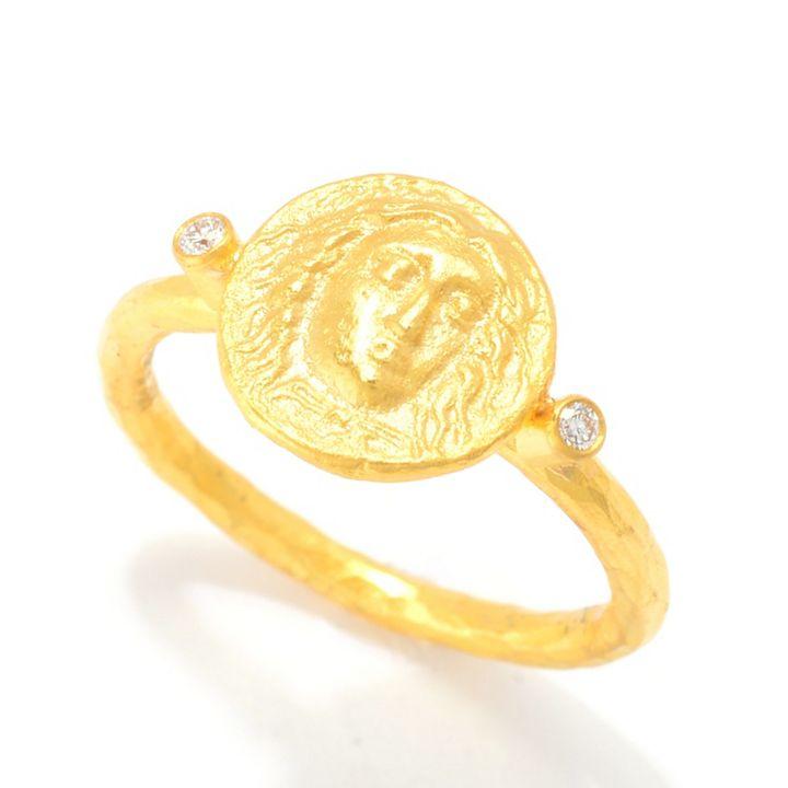 Shop Once Onlys at ShopHQ - 184-142 Cevherun 24K Gold Diamond Accented Medusa Coin Ring