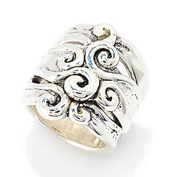 Passage to Israel™ Sterling Silver Electroform Scrollwork Wide Band Ring, 6.3 grams