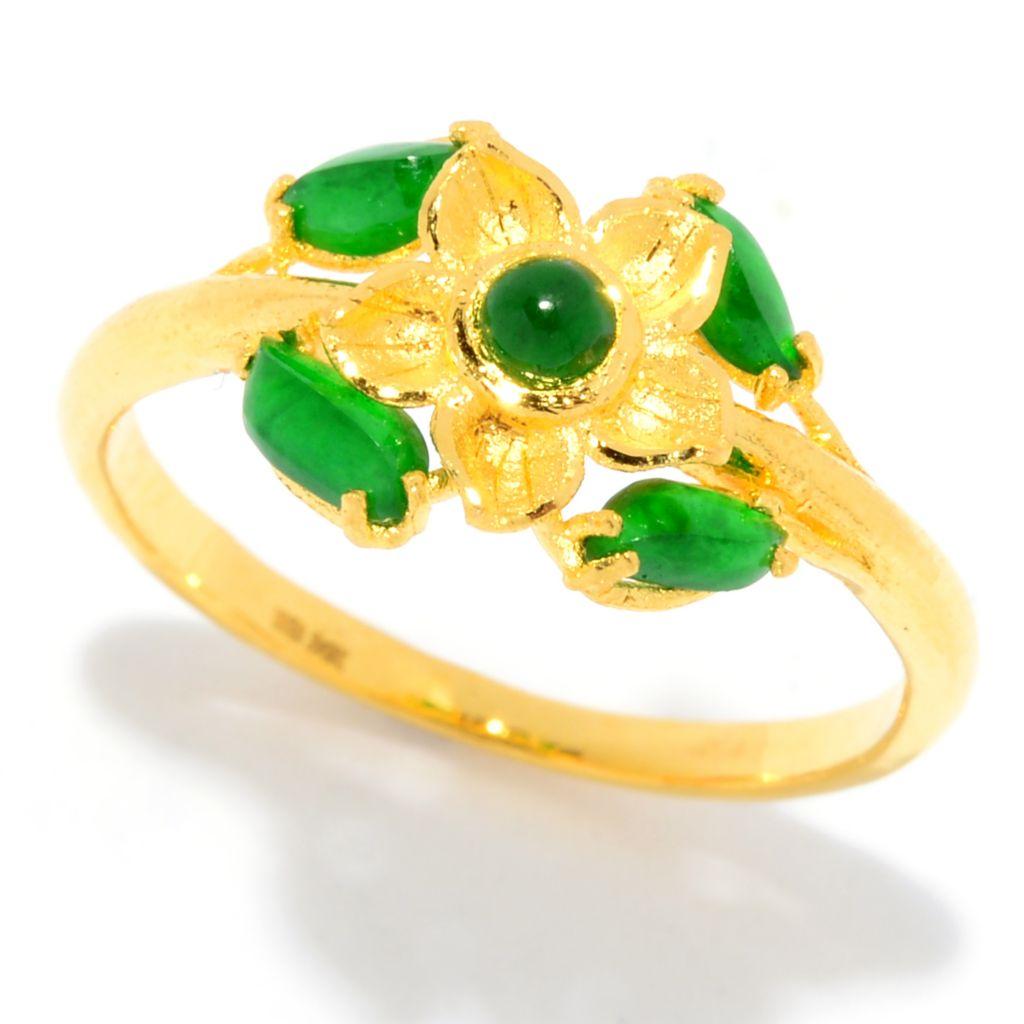 Lambert Cheng, 24K Gold, Imperial Jade, Flower Ring