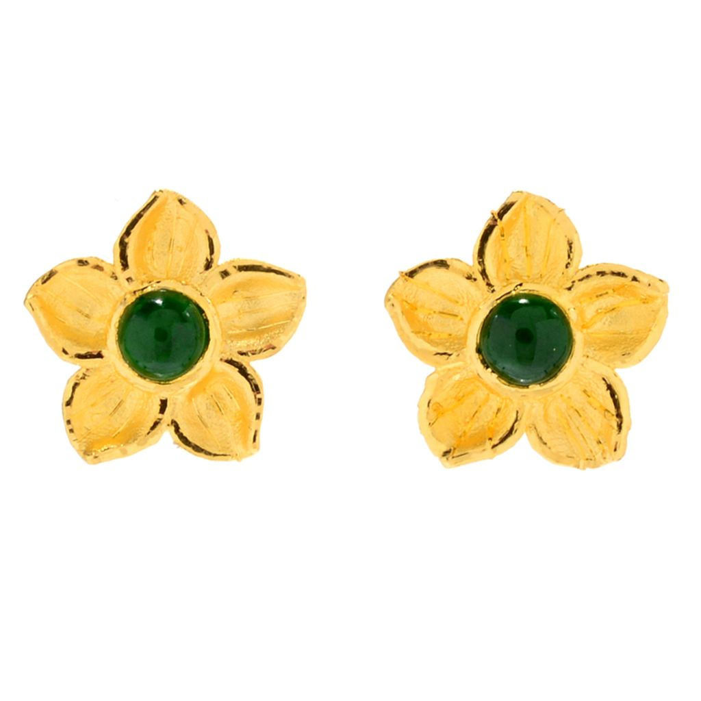 Lambert Cheng, 24K Gold, Imperial Jade, Flower Stud, Earrings