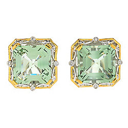 Gems en Vogue 15.53ctw Ametista Prasiolite & Diamond Stud Earrings w/ Omega Backs