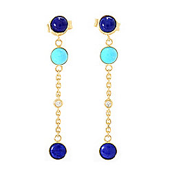 "EFFY 14K Gold 1.25"" Diamond, Sleeping Beauty Turquoise & Lapis Dangle Earrings"