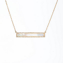 "EFFY 14K Gold 16"" 29 x 3mm Mother-of-Pearl & Diamond Halo Bar Necklace w/ 2"" Extender"