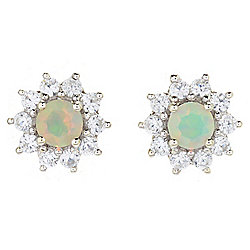 Gem Treasures® Faceted Ethiopian Opal & White Zircon Stud Earrings