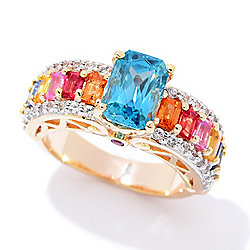 Victoria Wieck Collection 4.30ctw Radiant Cut Blue Zircon & Multi Color Sapphire Ring