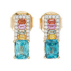 Victoria Wieck Collection 5.99ctw Blue Zircon & Multi Color Sapphire Earrings