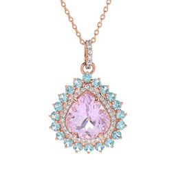 Victoria Wieck Collection 184-437 Victoria Wieck Collection 13.88ctw Pear Cut Kunzite & Gem Halo Pendant w Chain - 184-437