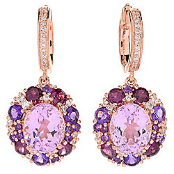 "Gem Treasures® 1.5"" 14.00ctw Oval Kunzite & Multi Gemstone Drop Earrings"