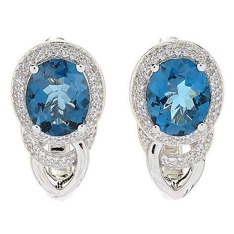 Gem Treasures®, 8 50ctw, London Blue Topaz, & White Zircon, Stud Earrings
