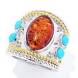 Gem Insider at ShopHQ 184-453 Gem Insider® 16 x 10mm Oval Amber & Sleeping Beauty Turquoise Ring - 184-453