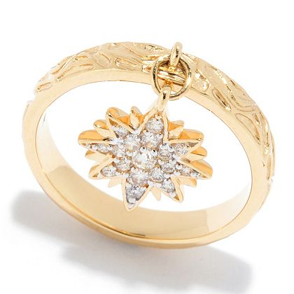 Holiday Diamond Day at ShopHQ | 184-461 Beverly Hills Elegance® 14K Gold 0.25ctw Diamond Sun Charm Textured Band Ring