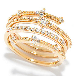 Rings - 184-465 Beverly Hills Elegance® 14K Gold 0.34 Diamond Wrap Band Ring - 184-465