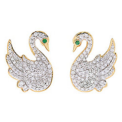 Beverly Hills Elegance® 14K Two-tone Gold Diamond & Emerald Swan Stud Earrings