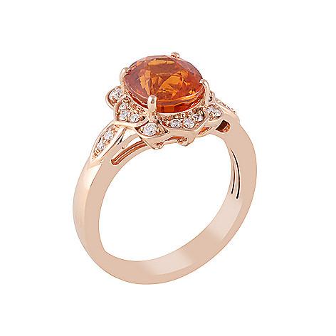 dcb3cd1b069f9 Gem Insider One-of-a-Kind 18KT Rose Gold 4.24ctw Mandarin Garnet & White  Diamond Ring
