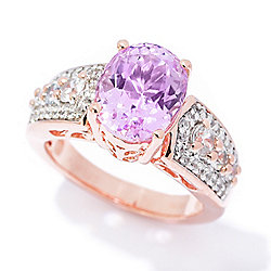 Gem Treasures® 3.43ctw Oval Kunzite & White Zircon Band Ring