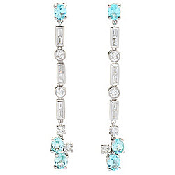"Gems of Distinction™ 14K White Gold 1"" 2.77ctw Diamond & Paraiba Tourmaline Drop Earrings"