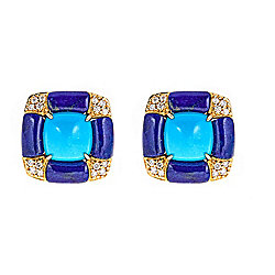 Fierra™ 14K Gold Sleeping Beauty Turquoise, Lapis & Diamond Stud Earrings