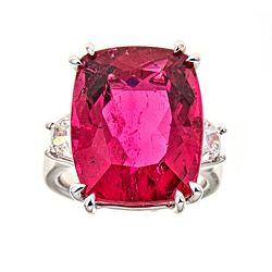 Sale & Clearance 184-581 Fierra™ 18K White Gold 24.62ctw Rubellite & Diamond Ring - Size 7 - 184-581