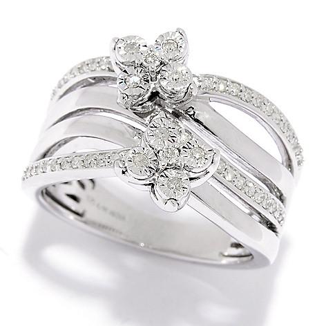 Diamond_Treasures® 0.23ctw Diamond_Flower_Cluster_Twisted 4-Row_Band_Ring