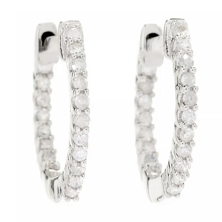 Final Quantities Sterling Silver Choice of Size Diamond Inside-out Hoop Earrings at ShopHQ | 184-620 Diamond Treasures® Sterling Silver Choice of Size Diamond Inside-out Hoop Earrings