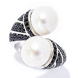Rings - 184-640 Kwan Collections Sterling Silver 10mm Freshwater Cultured Pearl & Black Spinel Ring - 184-640