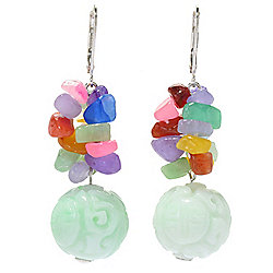 "Kwan Collections Sterling Silver 2"" Multi Color Jade Bead Drop Earrings"