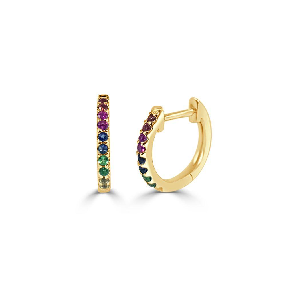 Sabrina Designs 14k Gold Rainbow Shire Huggie Hoop Earrings