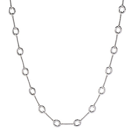"""Sorrento_Italian_Silver """"Mariner"""" 30""""_Open_Ring_& Rope_Textured Station_Necklace"""