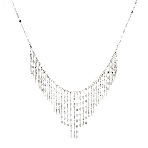 Stefano_Oro Petali_Fringe 14K_Gold_16 CollarStyle_Necklace_w_2 Ext_35_grams