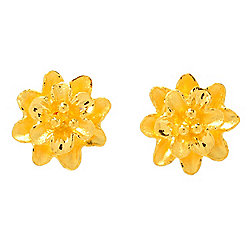 Lambert Cheng 24K Gold Flower Stud Earrings, 2.5 grams