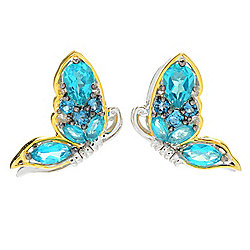 Gems en Vogue Final Cut 3.78ctw Paraiba Color & London Blue Topaz Butterfly Earrings