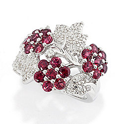 Gem Treasures® 2.10ctw Red Spinel & White Zircon Flower Ring