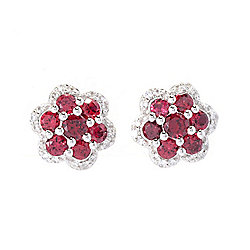 Gem Treasures® 1.12ctw Red Spinel & White Zircon Flower Stud Earrings