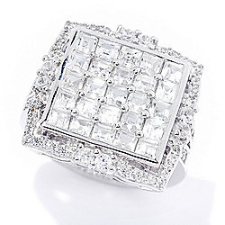 Gem Treasures® 2.30ctw White Zircon Square Ring