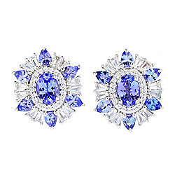 Gem Treasures® 4.58ctw Tanzanite & White Zircon Stud Earrings
