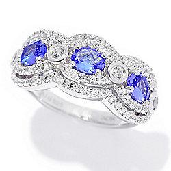 Tanzanite at ShopHQ - 185-023 Gem Treasures® 1.58ctw Tanzanite & White Zircon Scalloped Band Ring - 185-023