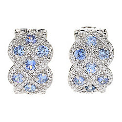 Gem Treasures® 1.75ctw Ceylon Blue Sapphire & White Zircon Hoop Earrings