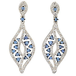 "Gem Treasures® 1.75"" 1.73ctw Ceylon Sapphire & Zircon Elongated Drop Earrings"