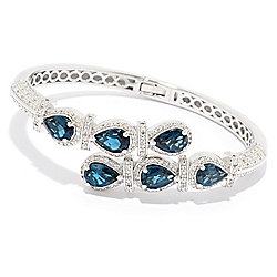 Gem Treasures® 8.63ctw London Blue Topaz & White Topaz Bypass Cuff Bracelet