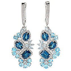 "Gem Treasures® 2"" 10.21ctw Multi Blue Topaz & White Zircon Drop Earrings"
