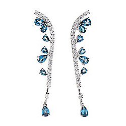 "Gem Treasures® 2.25"" 5.51ctw London Blue Topaz & White Zircon Crawler Earrings"
