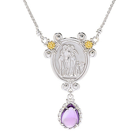 Tagliamonte Three_Graces Sterling_Silver 18K_Gold_Accented 18_Pear_Cut_Gemstone_Cameo_Necklace