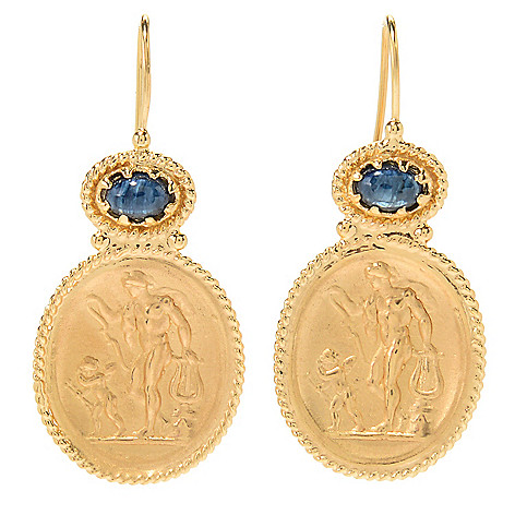 Tagliamonte 18K_Gold_15 Gemstone_Accented Apollo_&_Cupid Cameo_Earrings